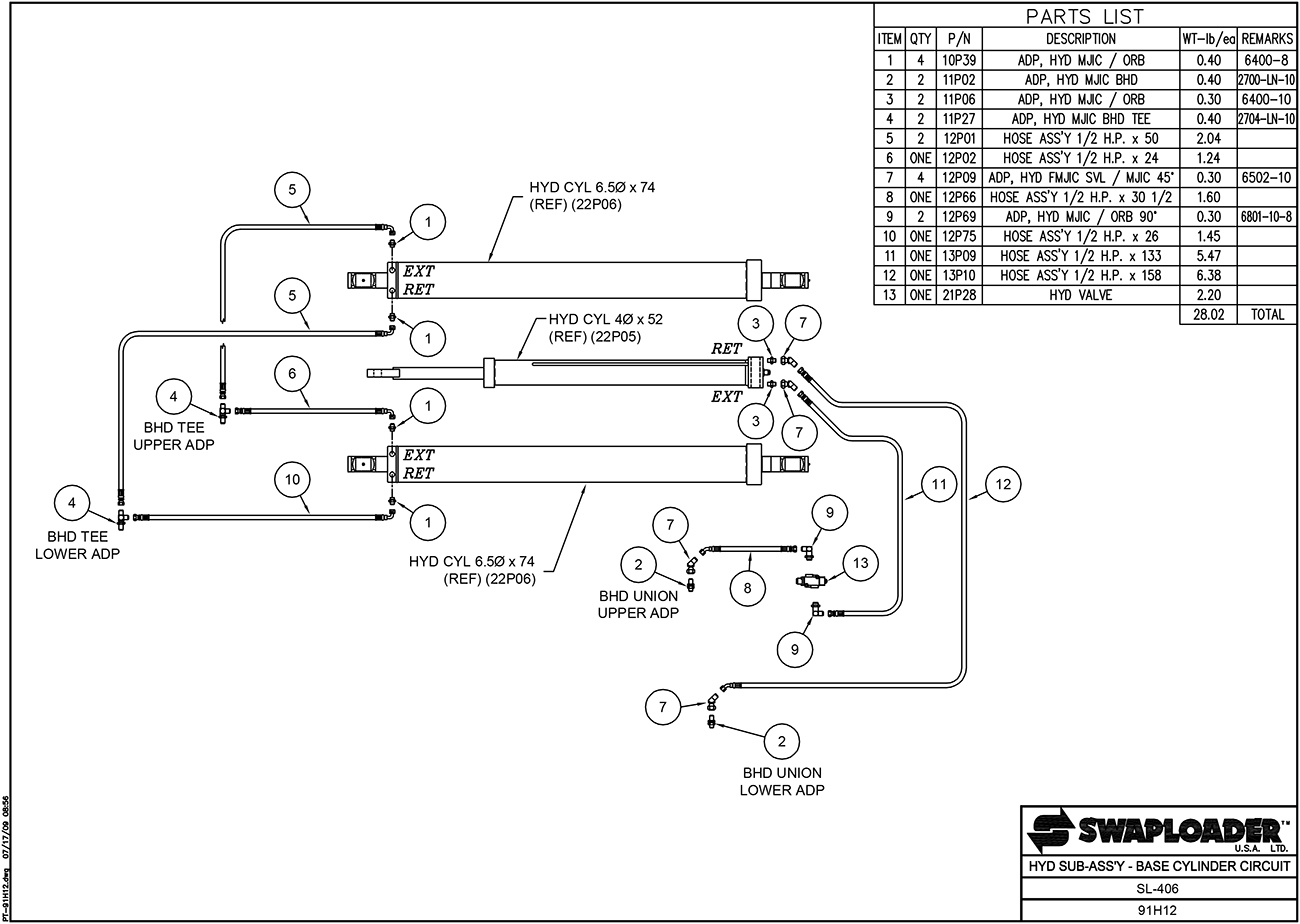 SL-406 Hydraulic Sub-Assembly Base Cylinder Circuit Diagram