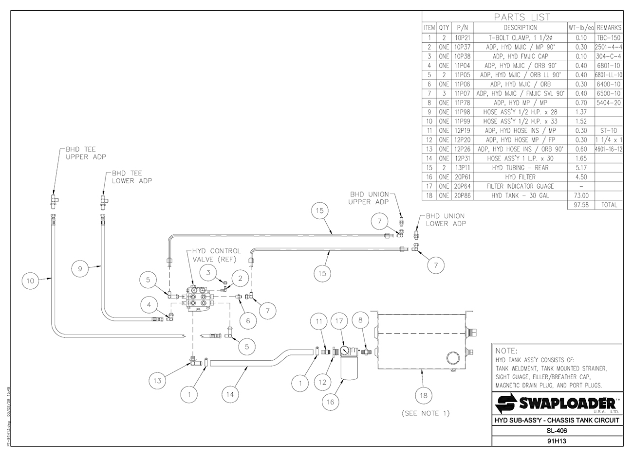 Swaploader Series 400 Sl 406 Hooklift Diagrams Waltco Wiring Diagram Hydraulic Sub Assembly Chassis Tank Circuit