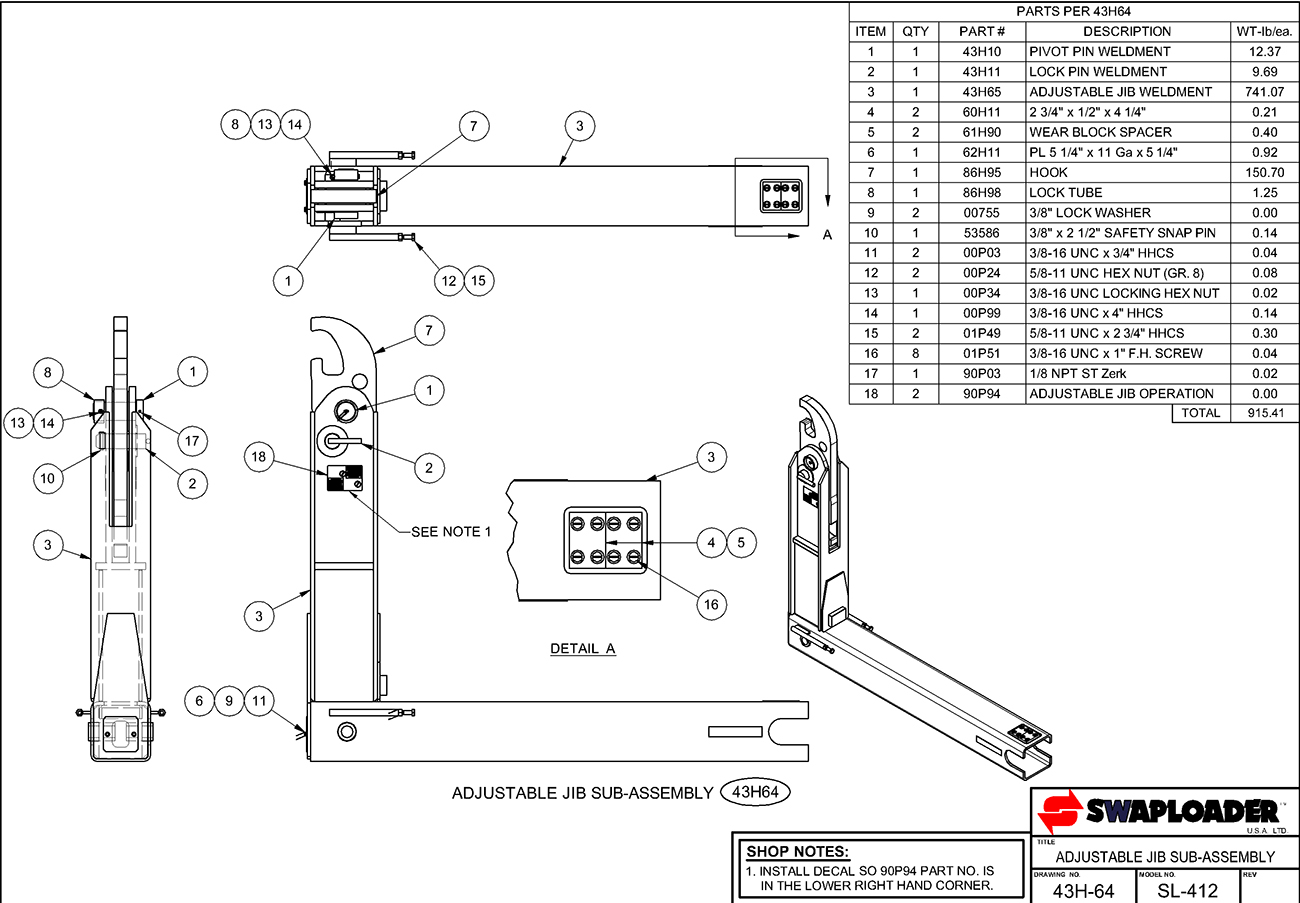 SL-412 Adjustable Jib Sub-Assembly Diagram