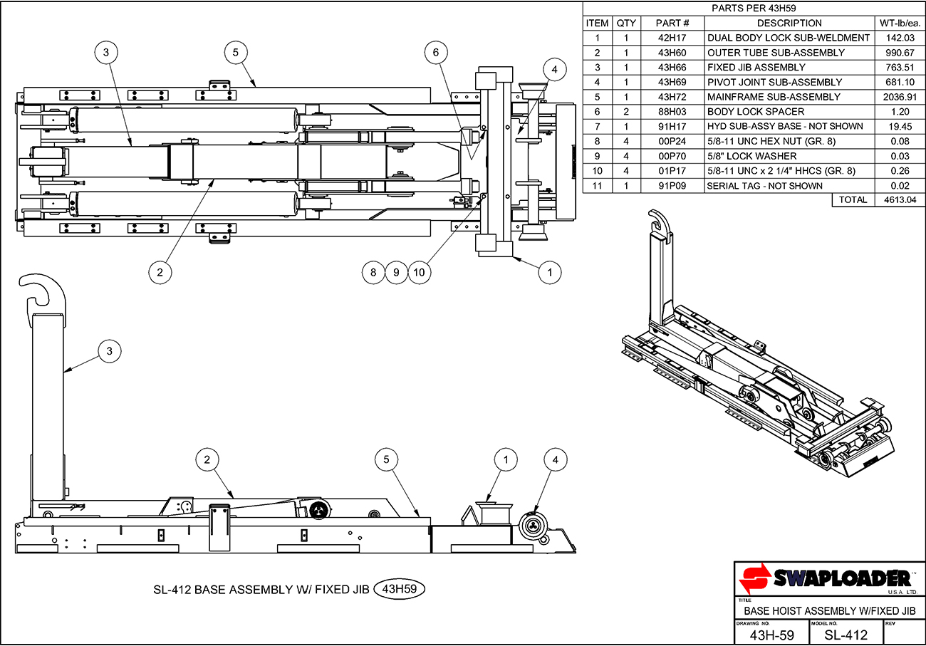 SL-412 Base Hoist Assembly (Fixed Jib) Diagram