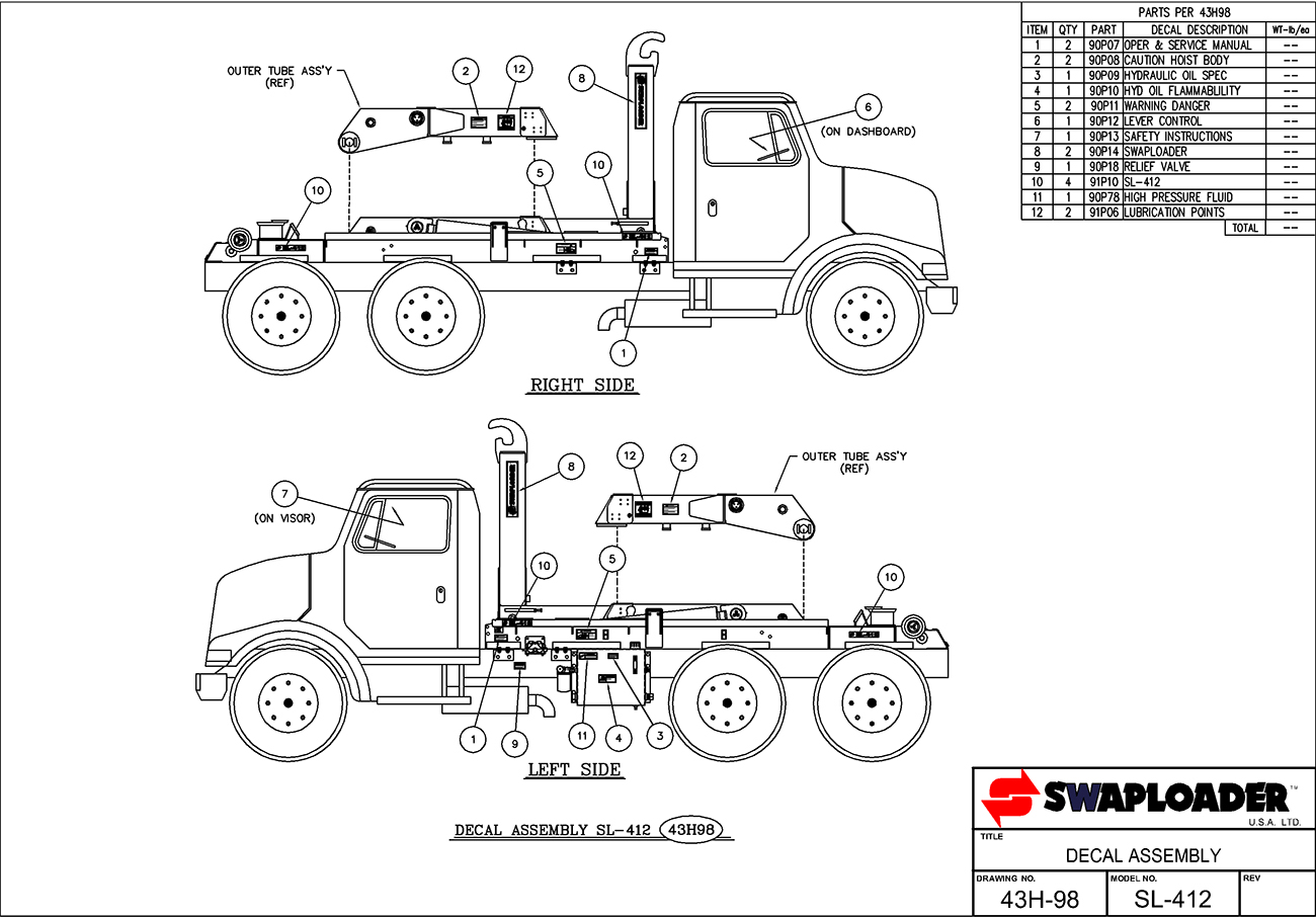 SL-412 Decal Assembly Diagram
