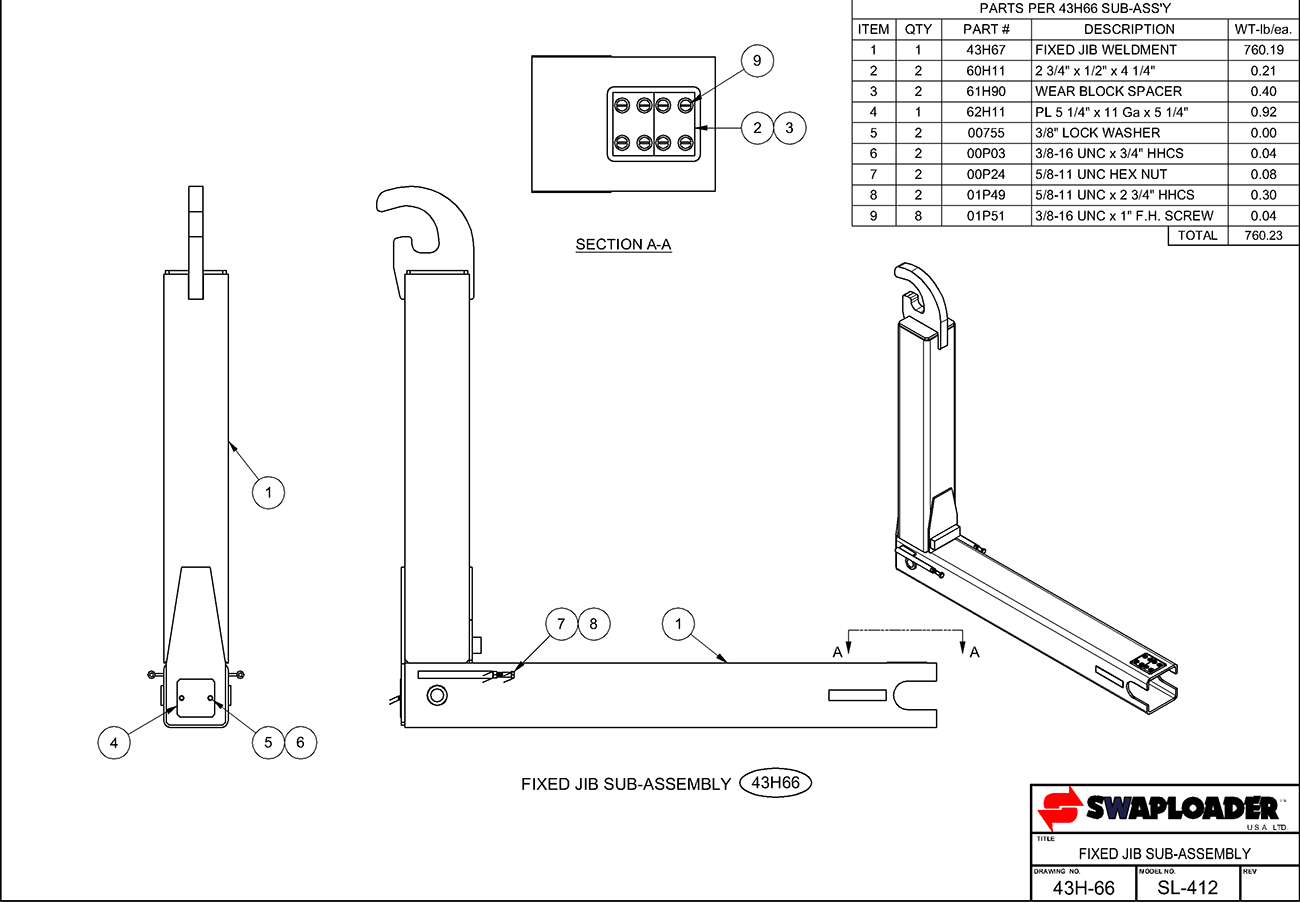 SL-412 Fixed Jib Sub-Assembly Diagram