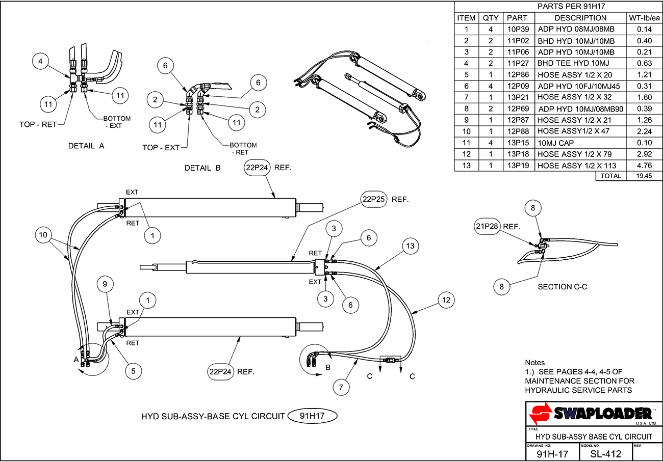 Swaploader 400 Series Sl 412 Hooklift Diagrams Hydraulic Spreader Wiring Diagram Sub Assembly Base Cylinder Circuit