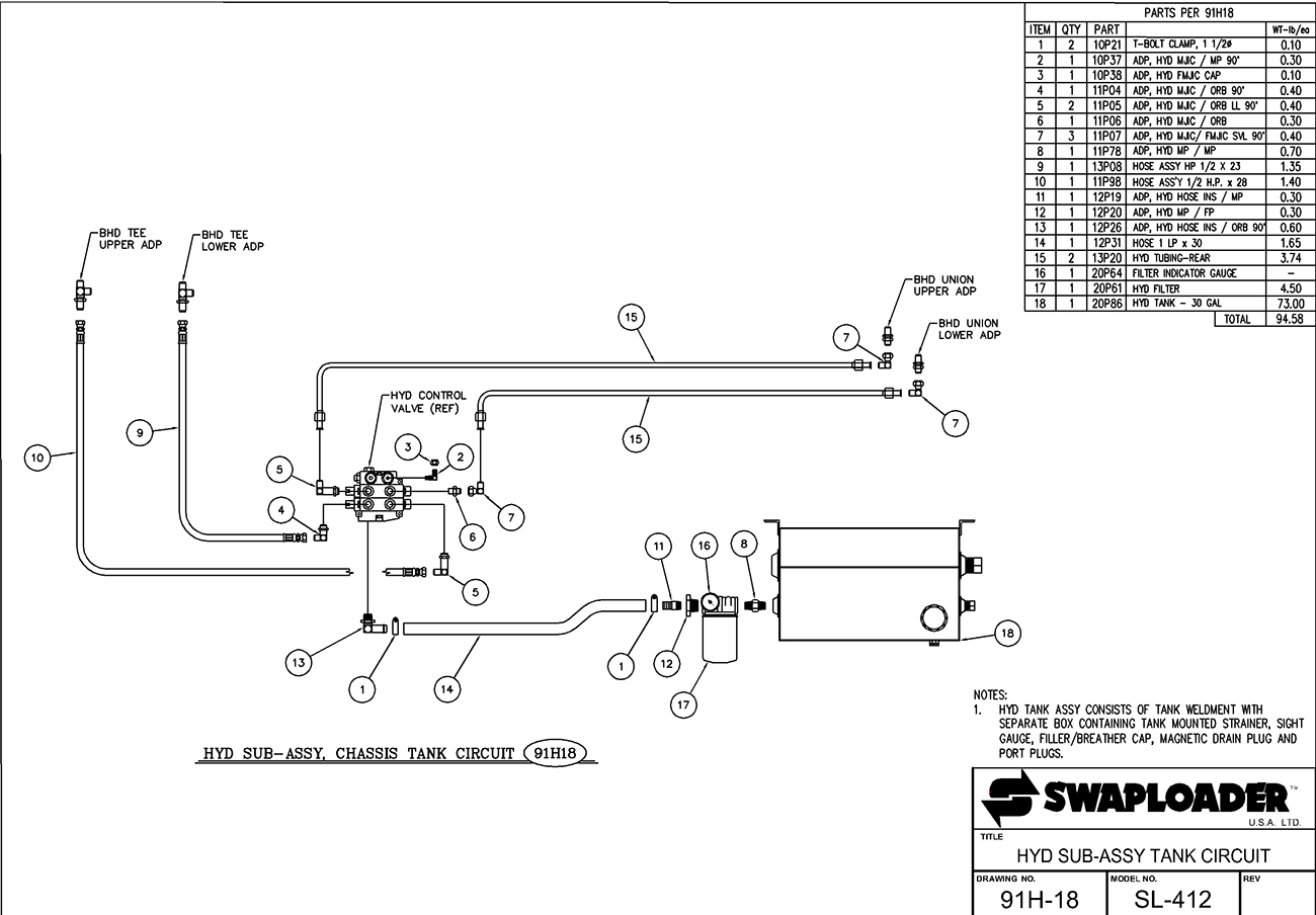 SL-412 Hydraulic Sub-Assembly Tank Circuit Diagram