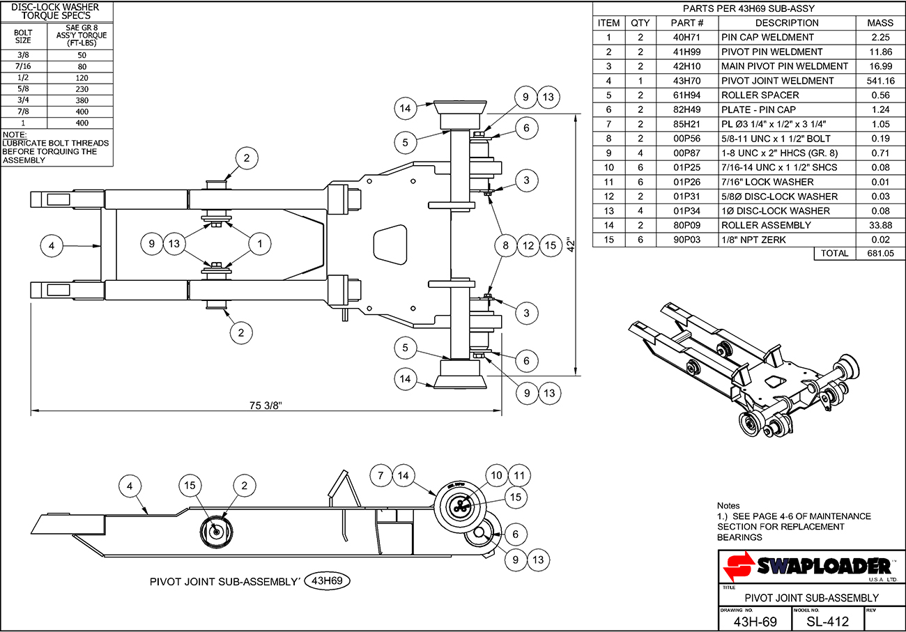 SL-412 Pivot Joint Sub-Assembly Diagram