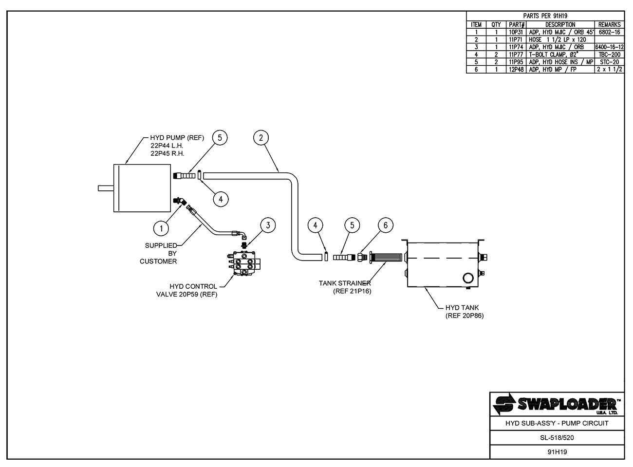 Swaploader Heavy Duty Series Sl 518 Hooklift Diagrams Mc 44 Multi Function Microphone Schematic Wiring Diagram 520 Hydraulic Sub Assembly Pump Circuit