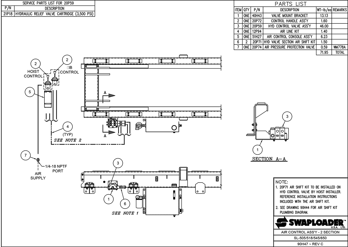 SL-518/650 Air Control Assembly (2 Section) Diagram