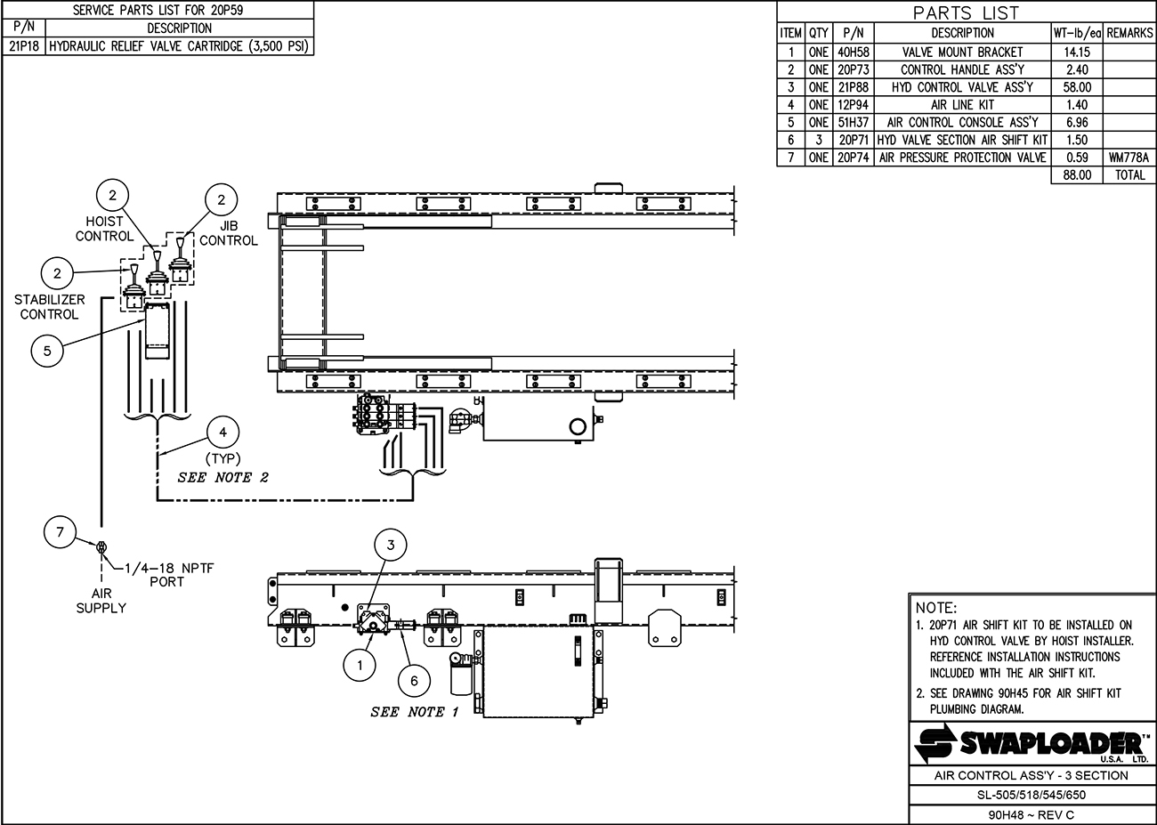 SL-518/650 Air Control Assembly (3 Cylinder) Diagram