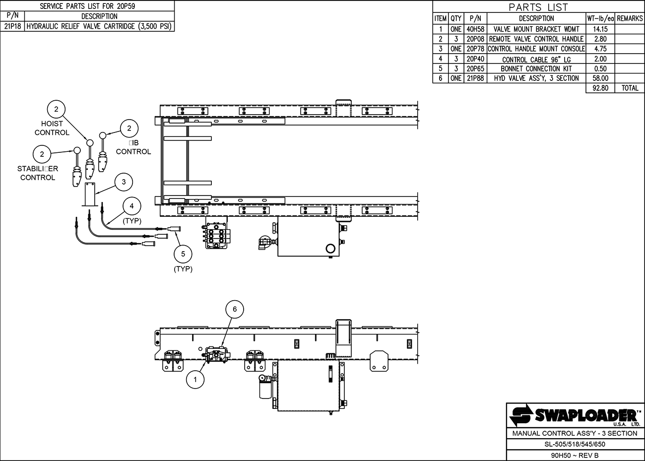 SL-518/650 Manual Control Assembly (3 Section) Diagram