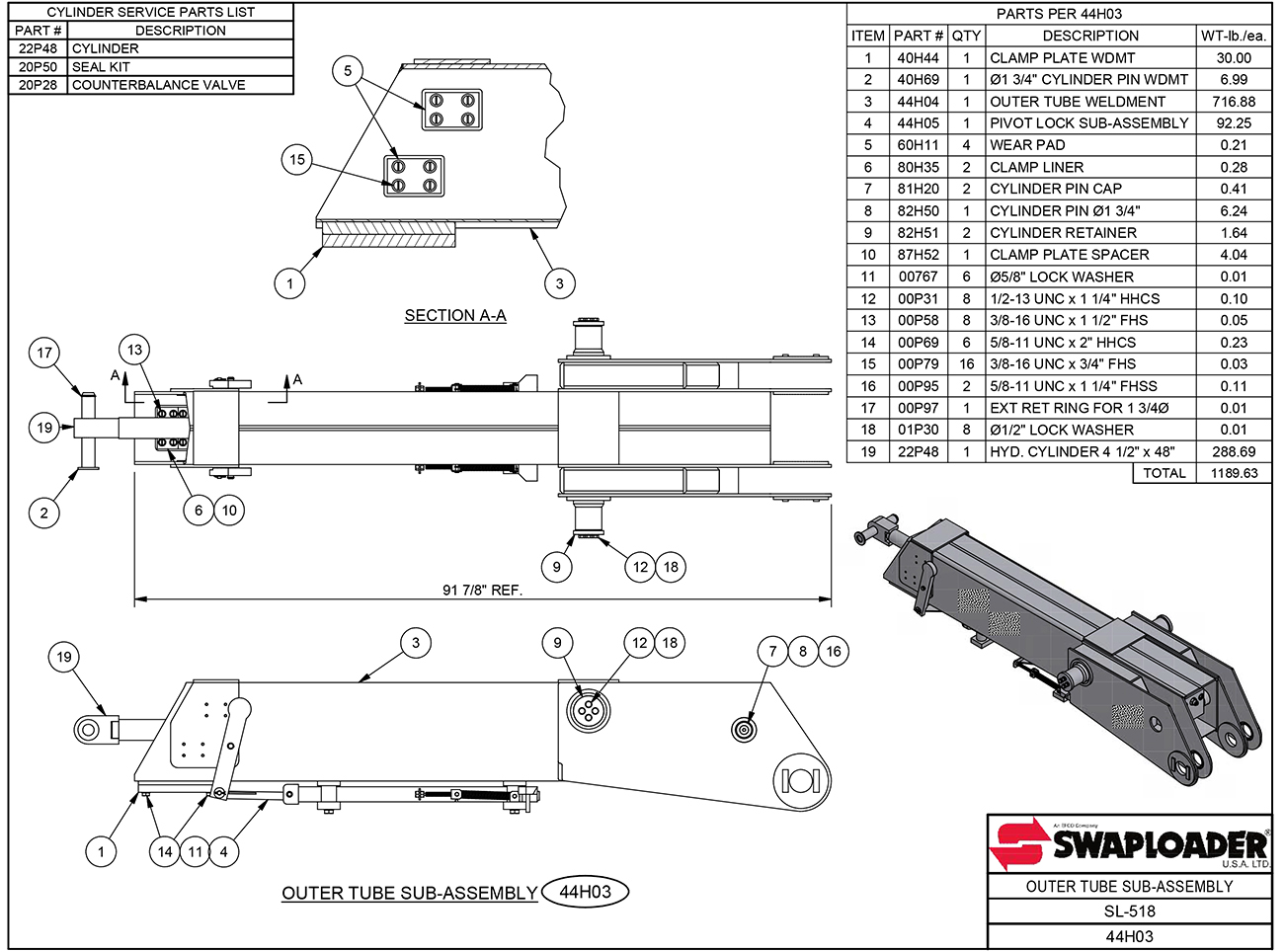 SL-518 Outer Tube Sub-Assembly Diagram
