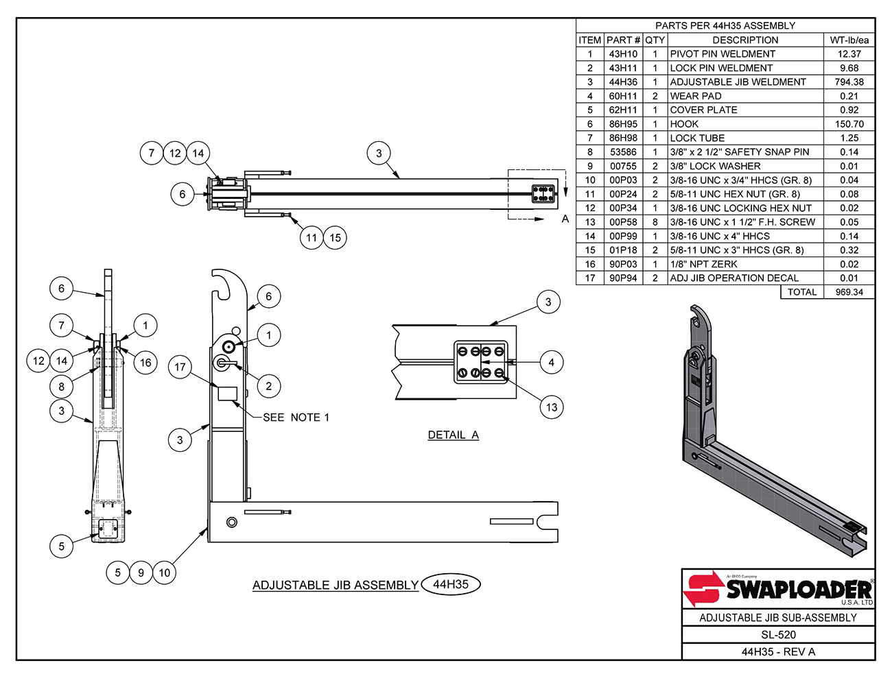 SL-520 Adjustable Jib Sub-Assembly Diagram