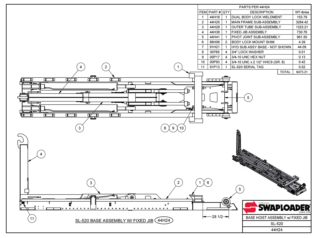 SL-520 Base Hoist Assembly (With Fixed Jib) Diagram