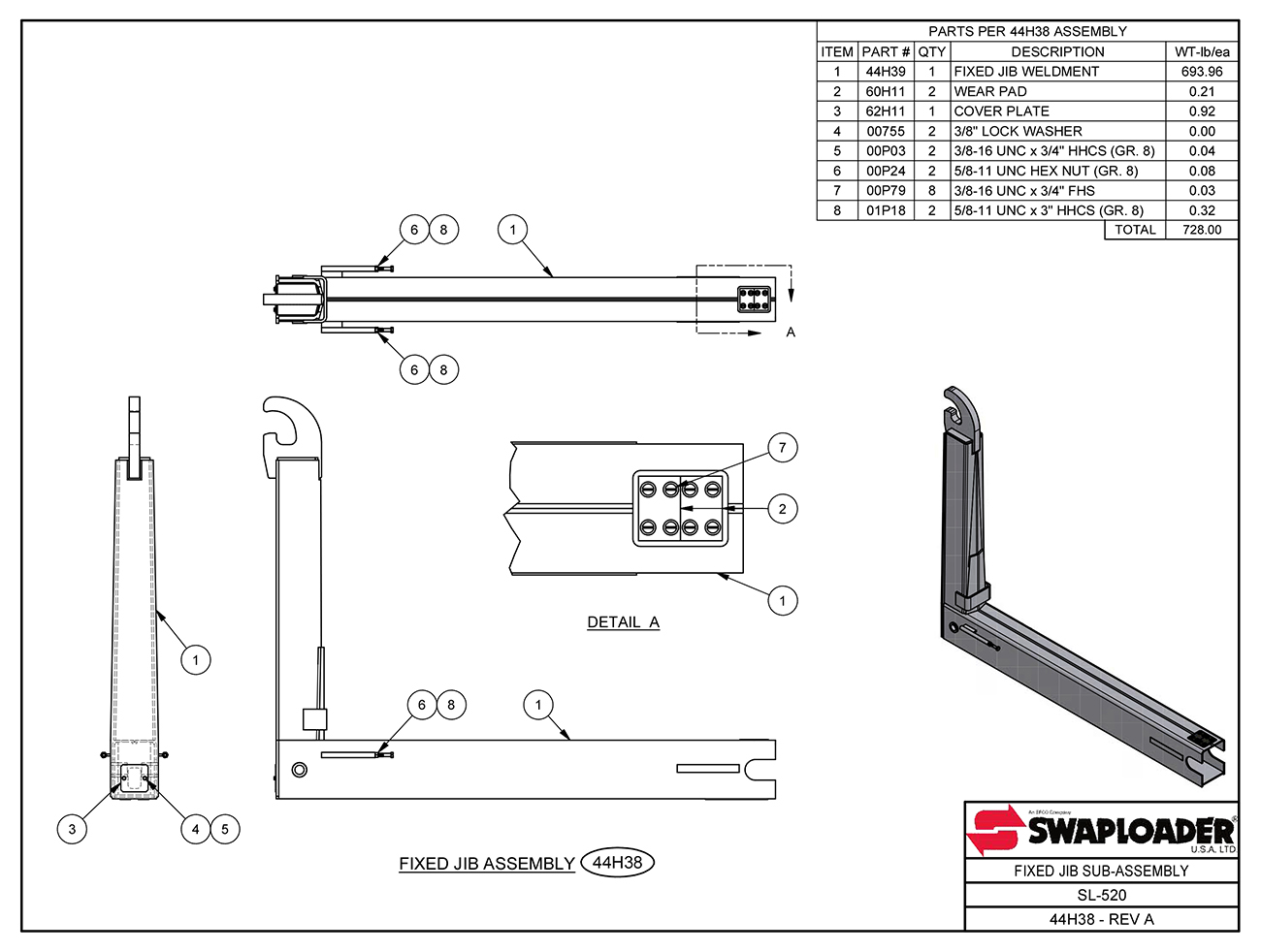 SL-520 Fixed Jib Sub-Assembly Diagram