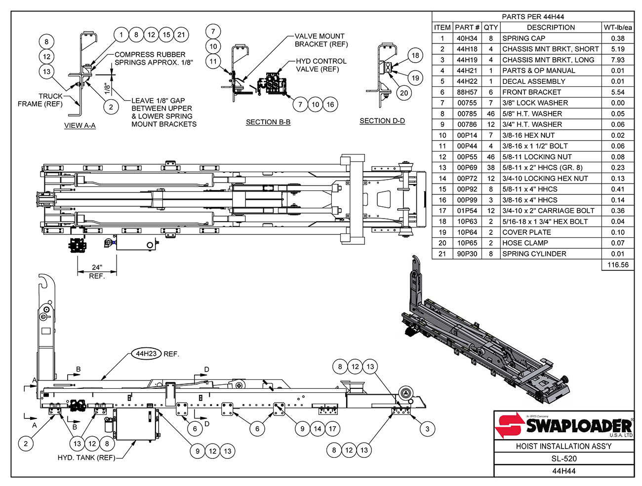 SL-520 Hoist Installation Assembly Diagram