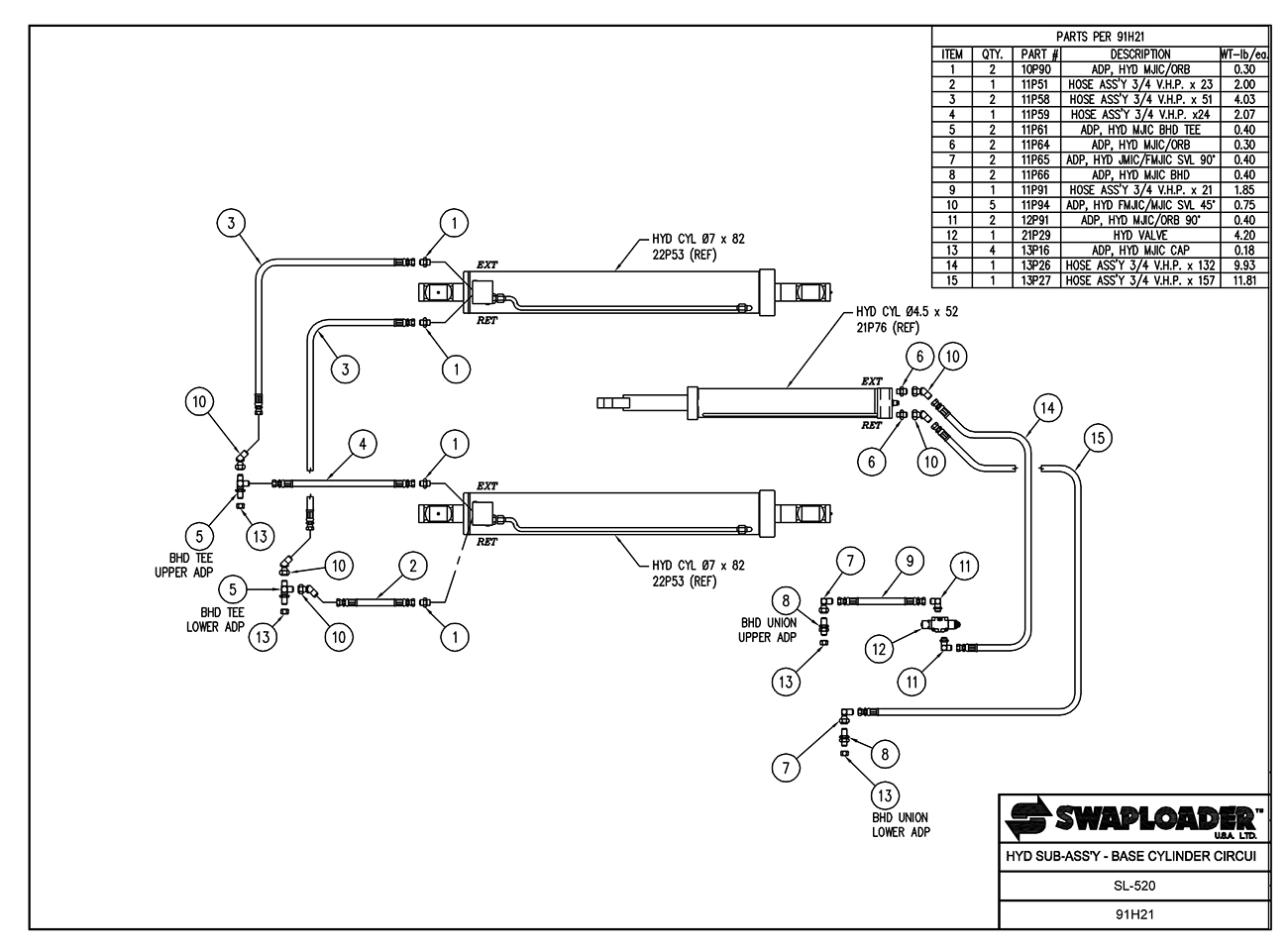 SL-520 Hydraulic Sub-Assembly Base Cylinder Circuit Diagram