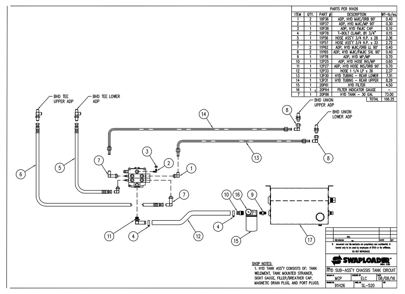 SL-520 Hydraulic Sub-Assembly Chassis Tank Circuit Diagram