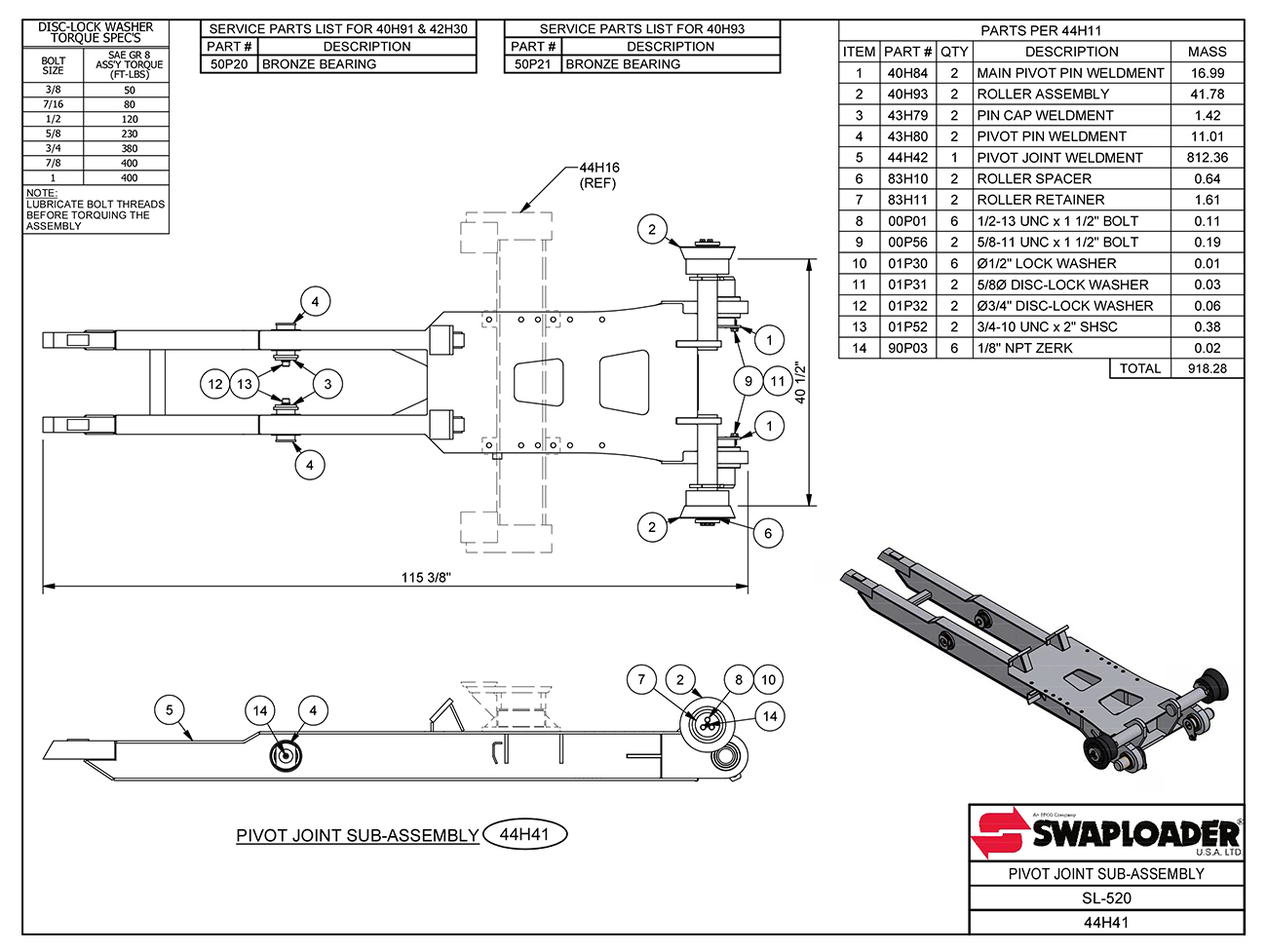 Sl-520 Pivot Joint Sub-Assembly Diagram