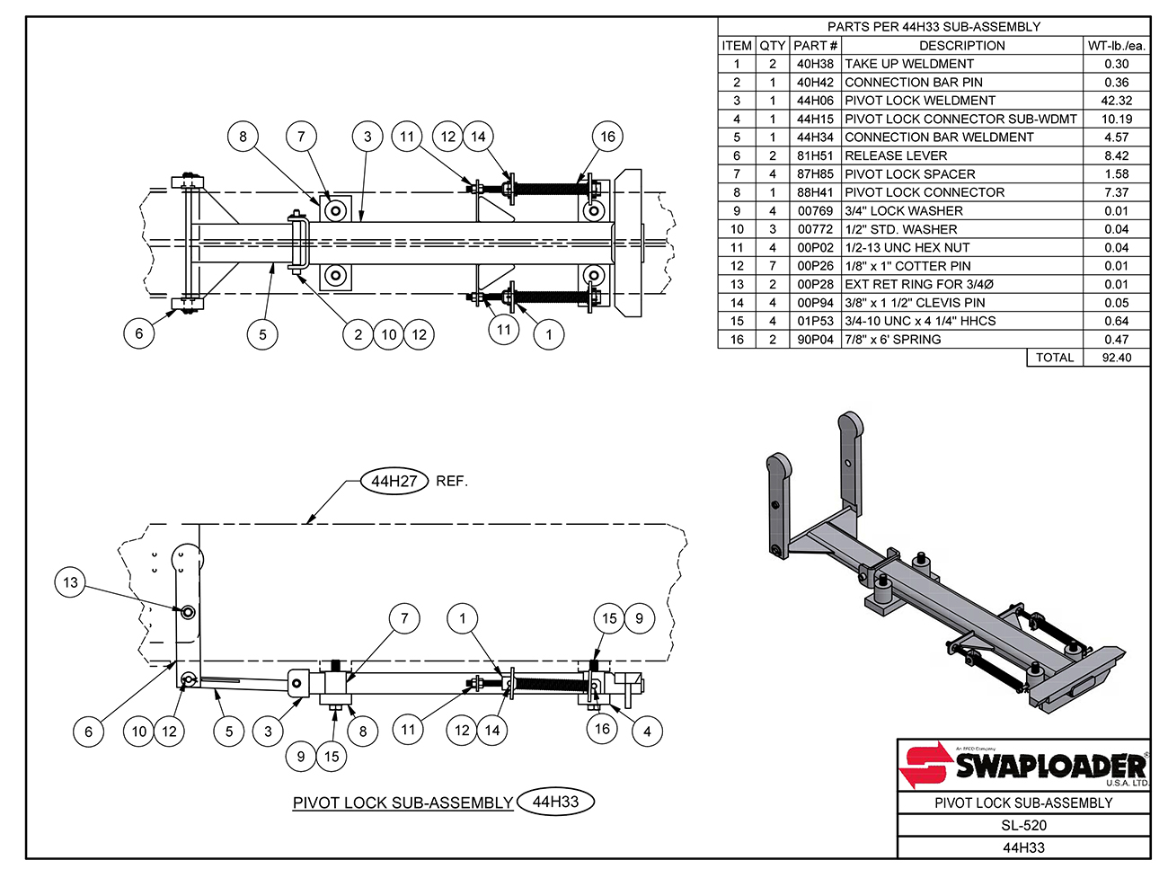 SL-520 Pivot Lock Sub Assembly Diagram