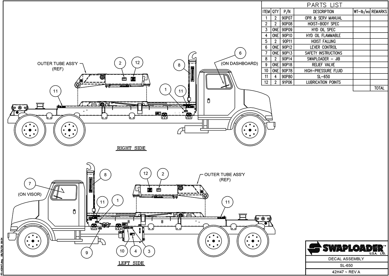 SL-650 Decal Assembly Diagram
