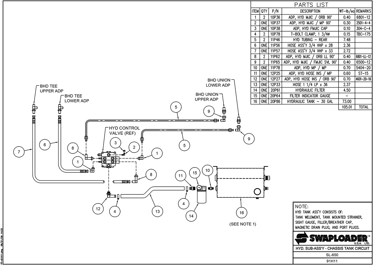 SL-650 Hydraulic Sub-Assembly Chassis Tank Circuit Diagram