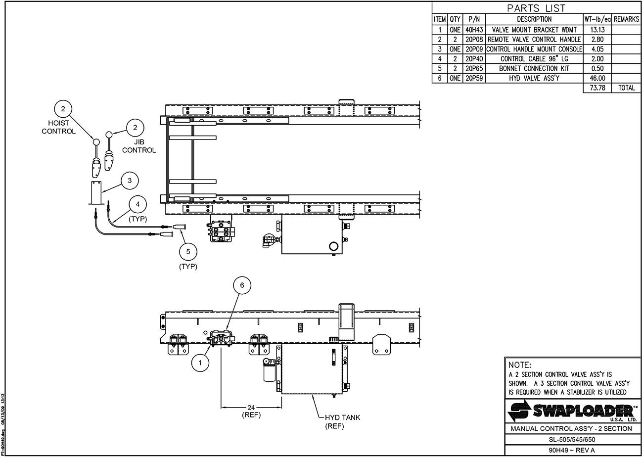 SL-518/650 Manual Control Assembly (2 Section) Diagram