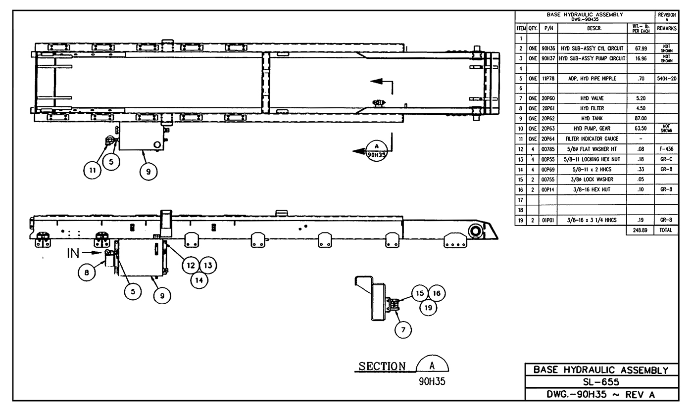 SL-655 Base Hydraulic Assembly Diagram