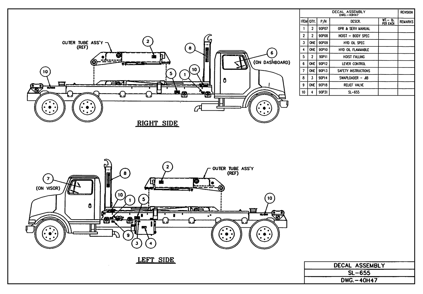 SL-655 Base Decal Assembly Diagram