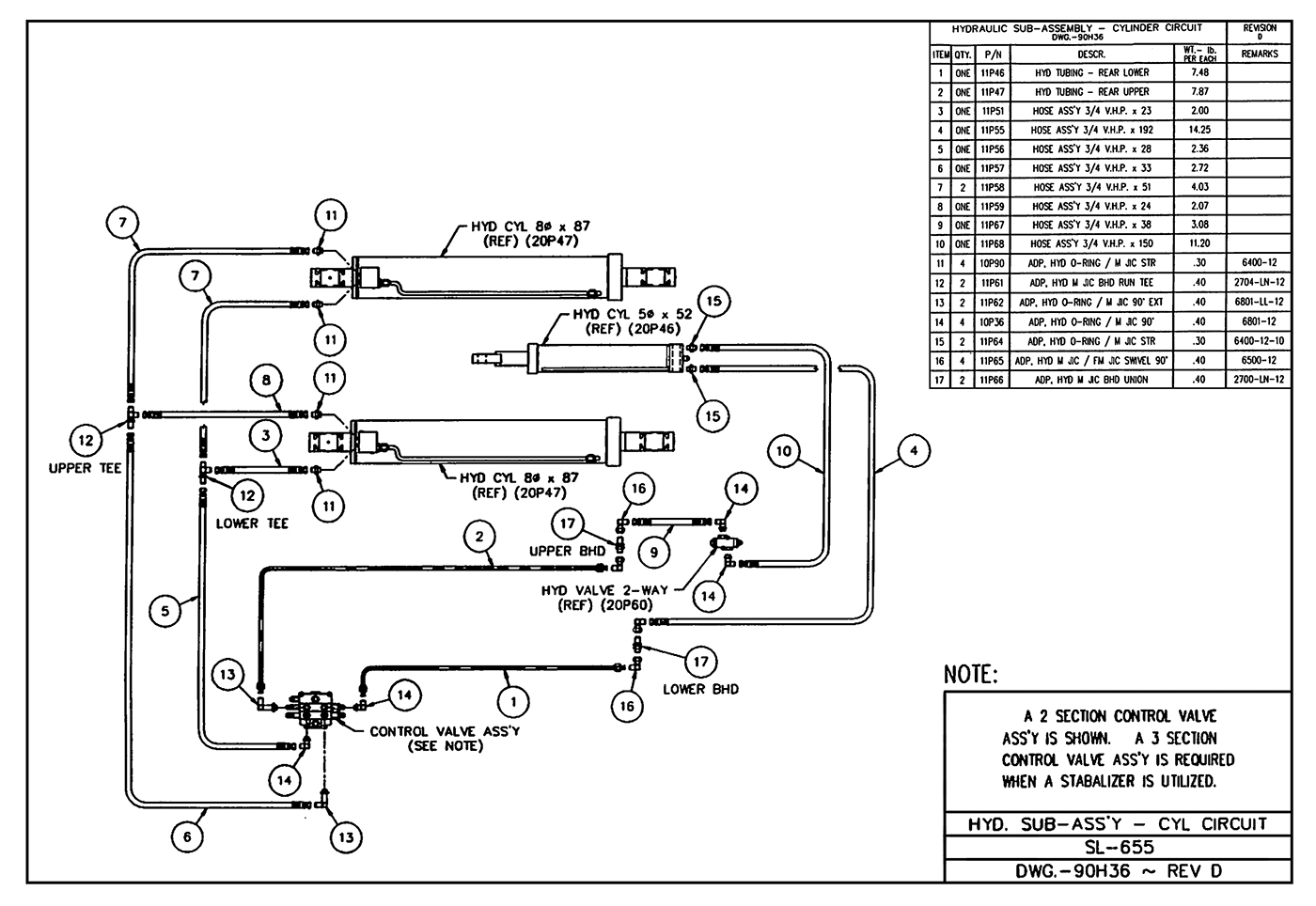 SL-655 Hydraulic Sub-Assembly (Cylinder Circuit) Diagram