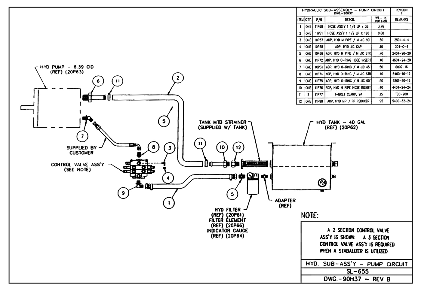 SL-655 Hydraulic Sub-Assembly (Pump Circuit) Diagram