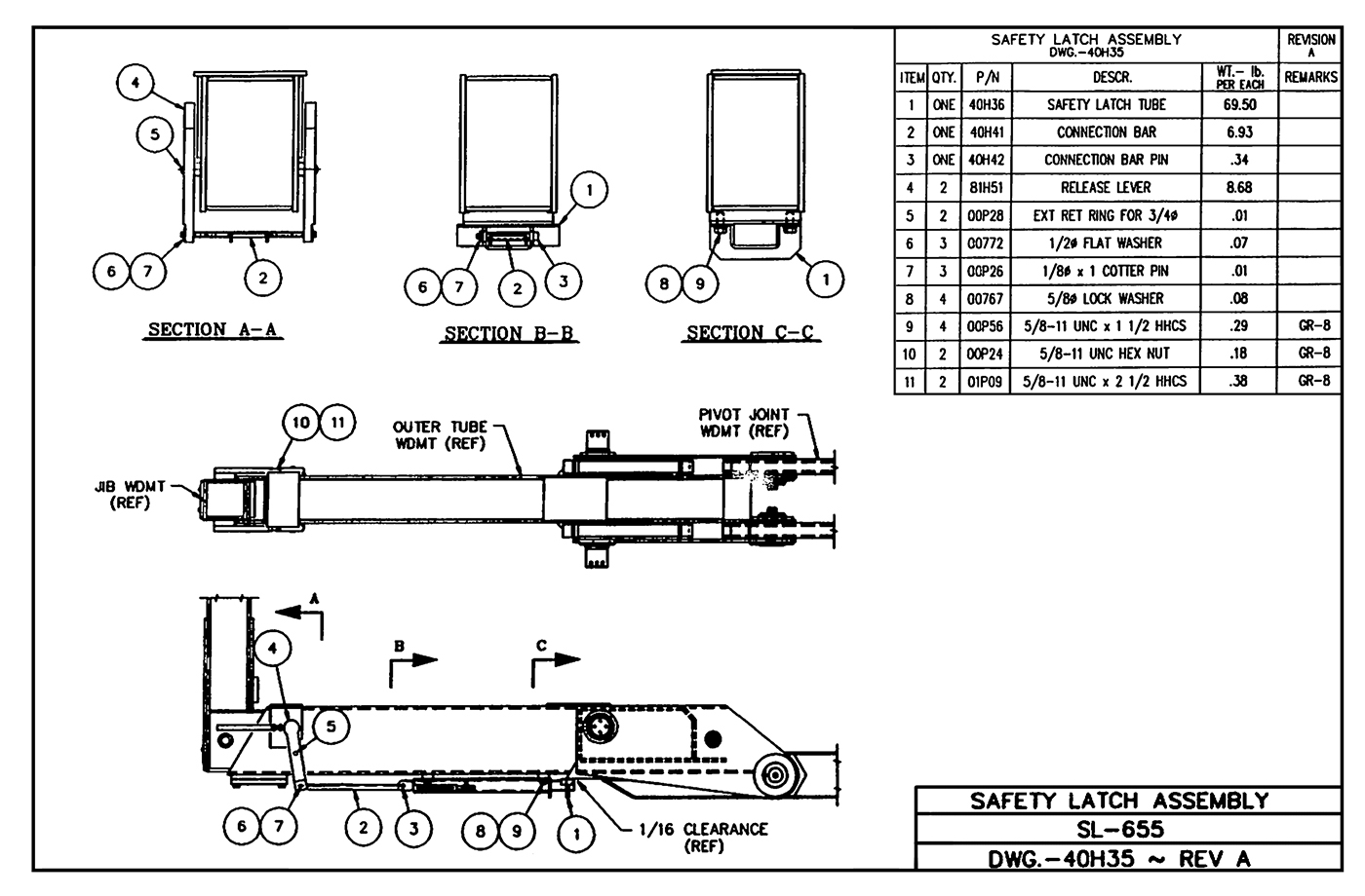 SL-655 Safety Latch Assembly Diagram