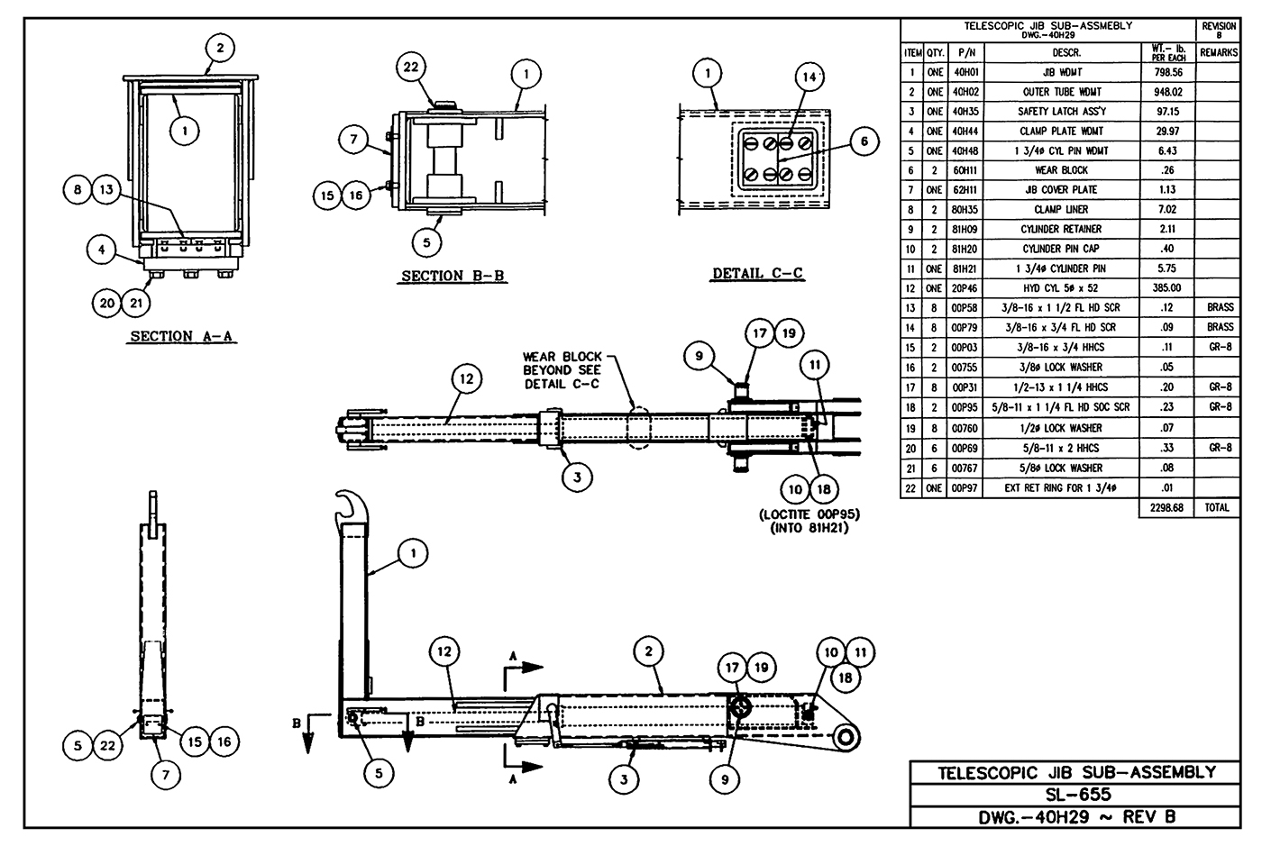 SL-655 Telescopic Jib Sub-Assembly Diagram