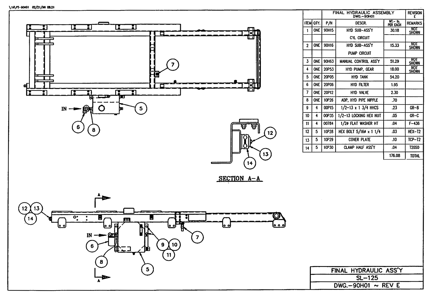 SL-125 Final Hydraulic Assembly Diagram