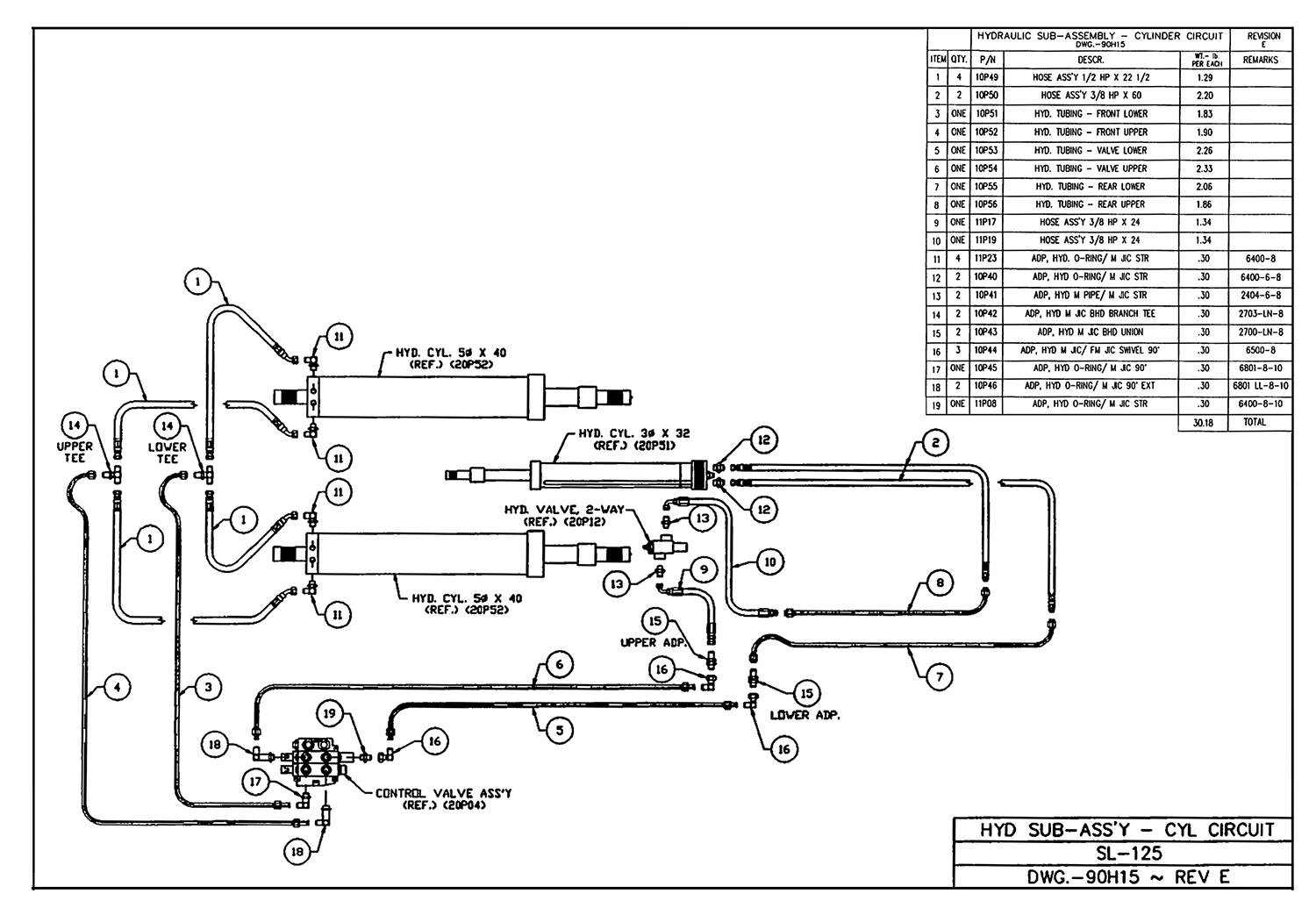 SL-125 Hydraulic Sub-Assembly (Cylinder Circuit) Diagram