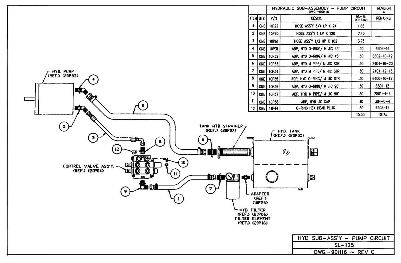 SL-125 Hydraulic Sub-Assembly (Pump Circuit) Diagram