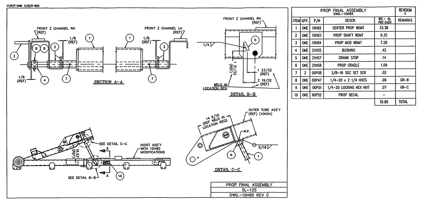 SL-125 Prop Final Assembly Diagram