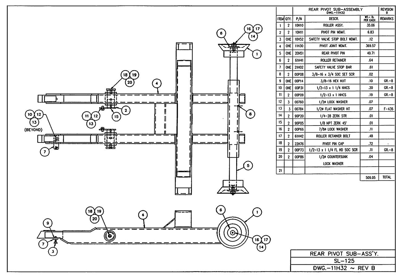 SL-125 Rear Pivot Sub-Assembly Diagram