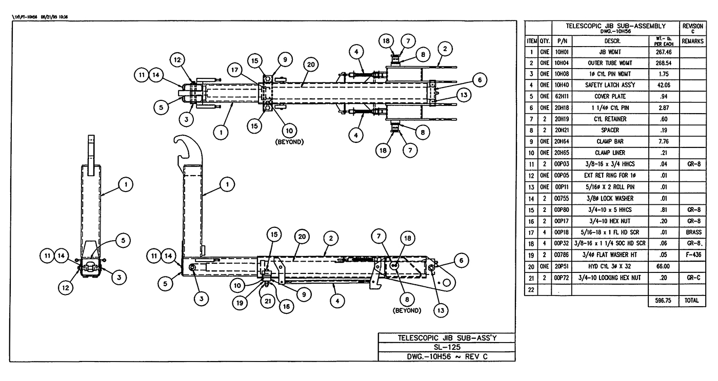 SL-125 Telescopic Jib Sub-Assembly Diagram