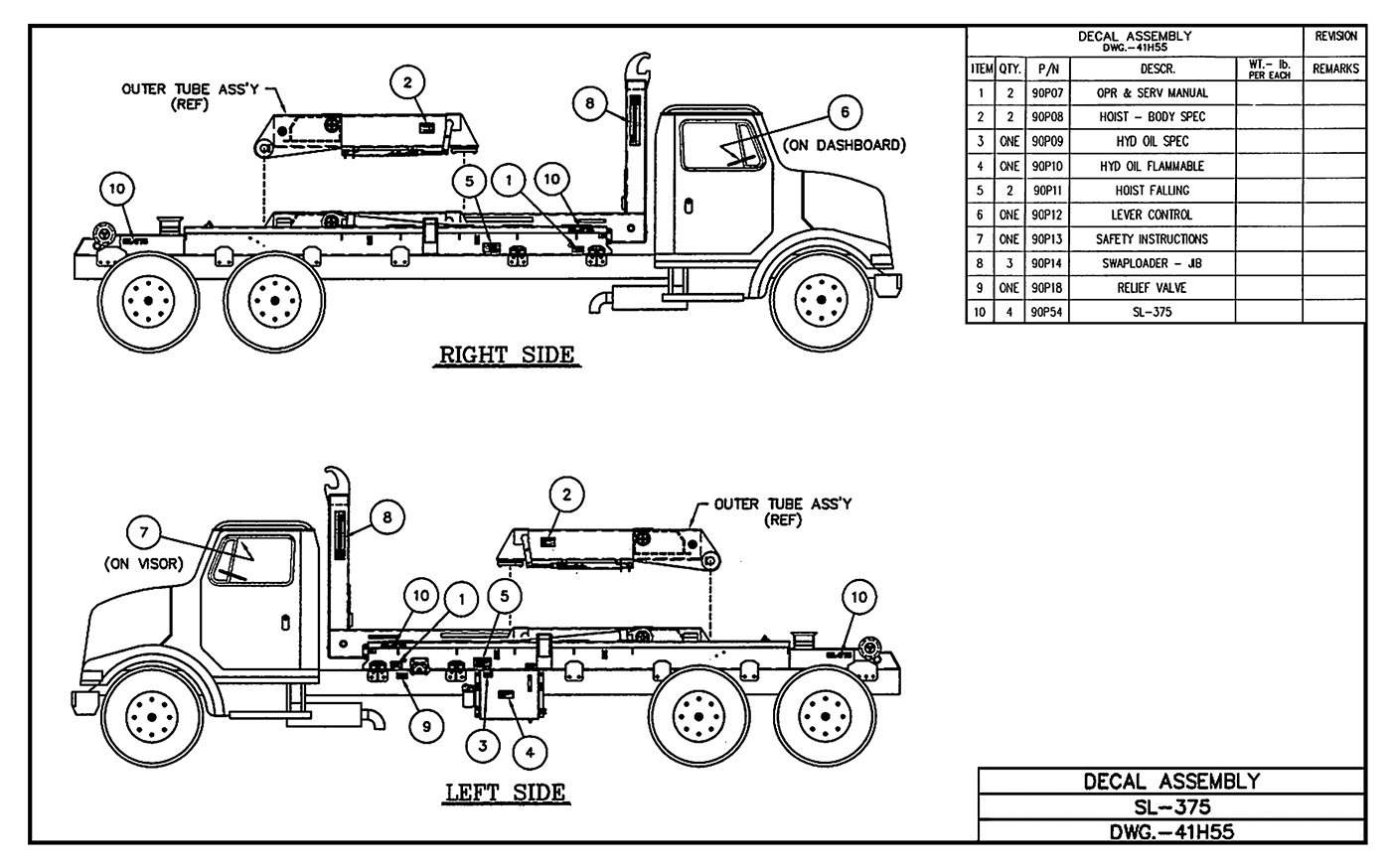 SL-375 Decal Assembly Diagram