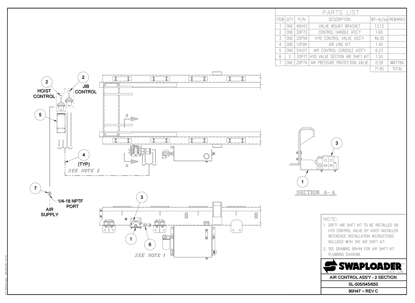 SL-505/545/650 Air Control Assembly (2 Section) Diagram