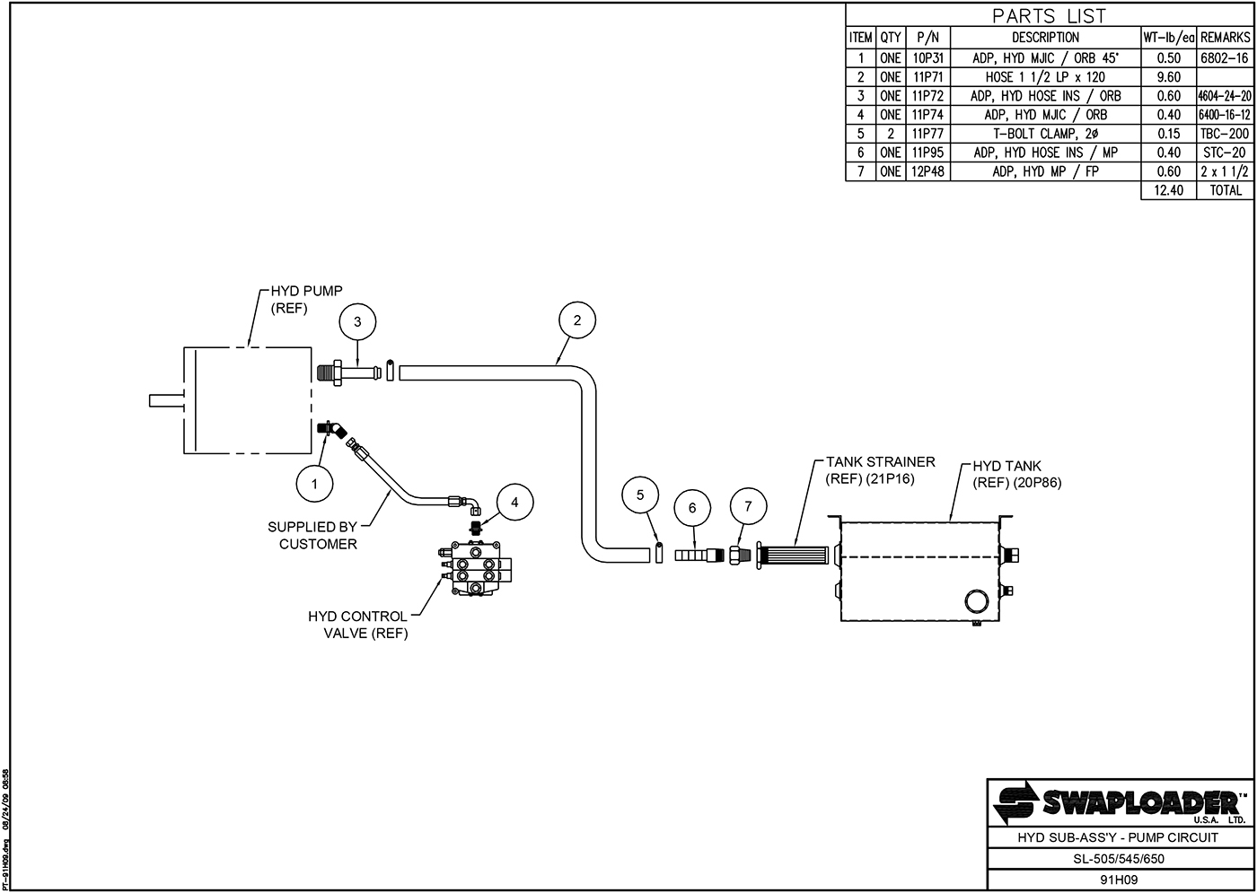SL-505/545/650 Hydraulic Sub-Assembly (Pump Circuit) Diagram