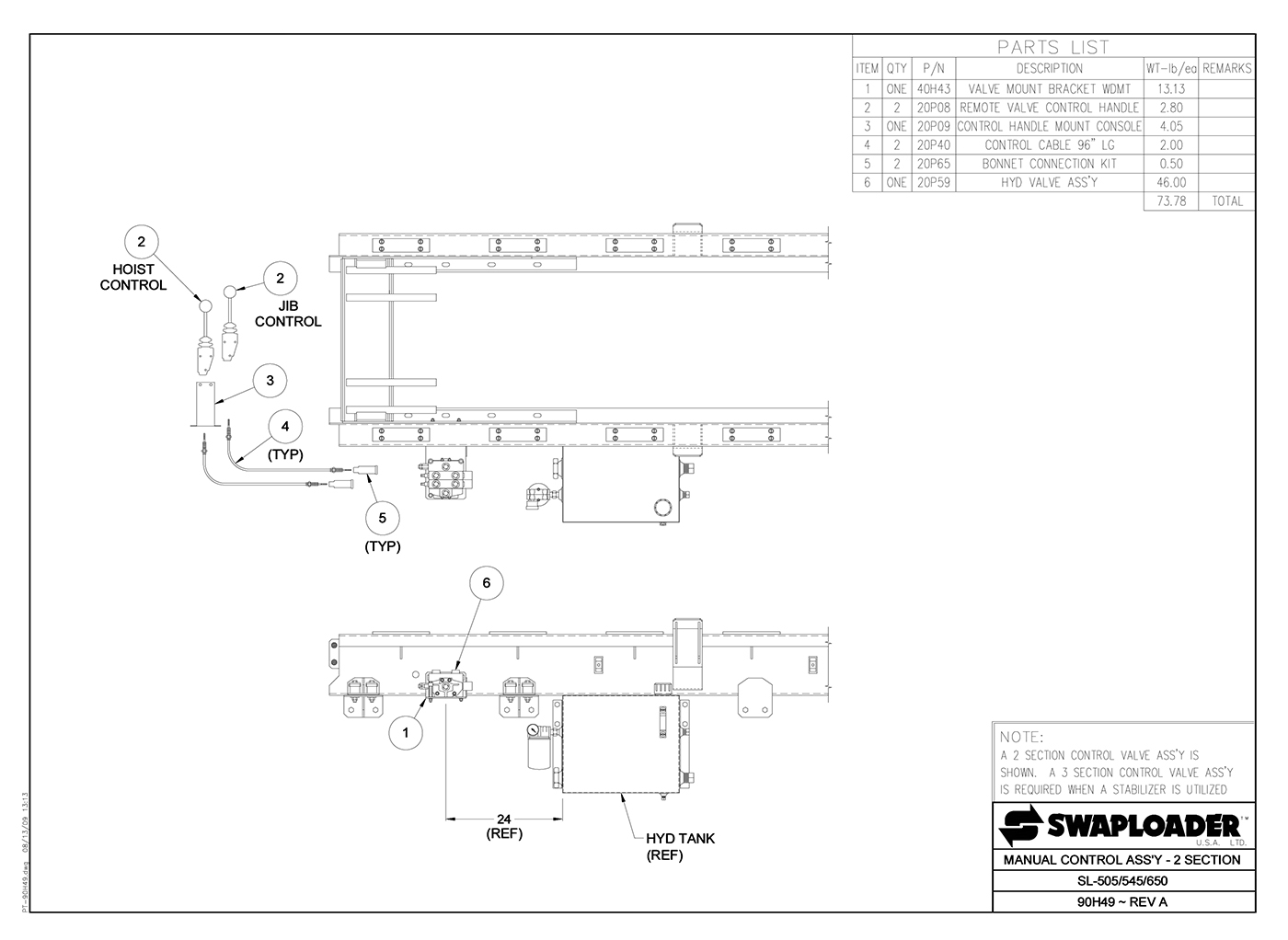 SL-505/545/650 Manual Control Assembly (2 Section) Diagram