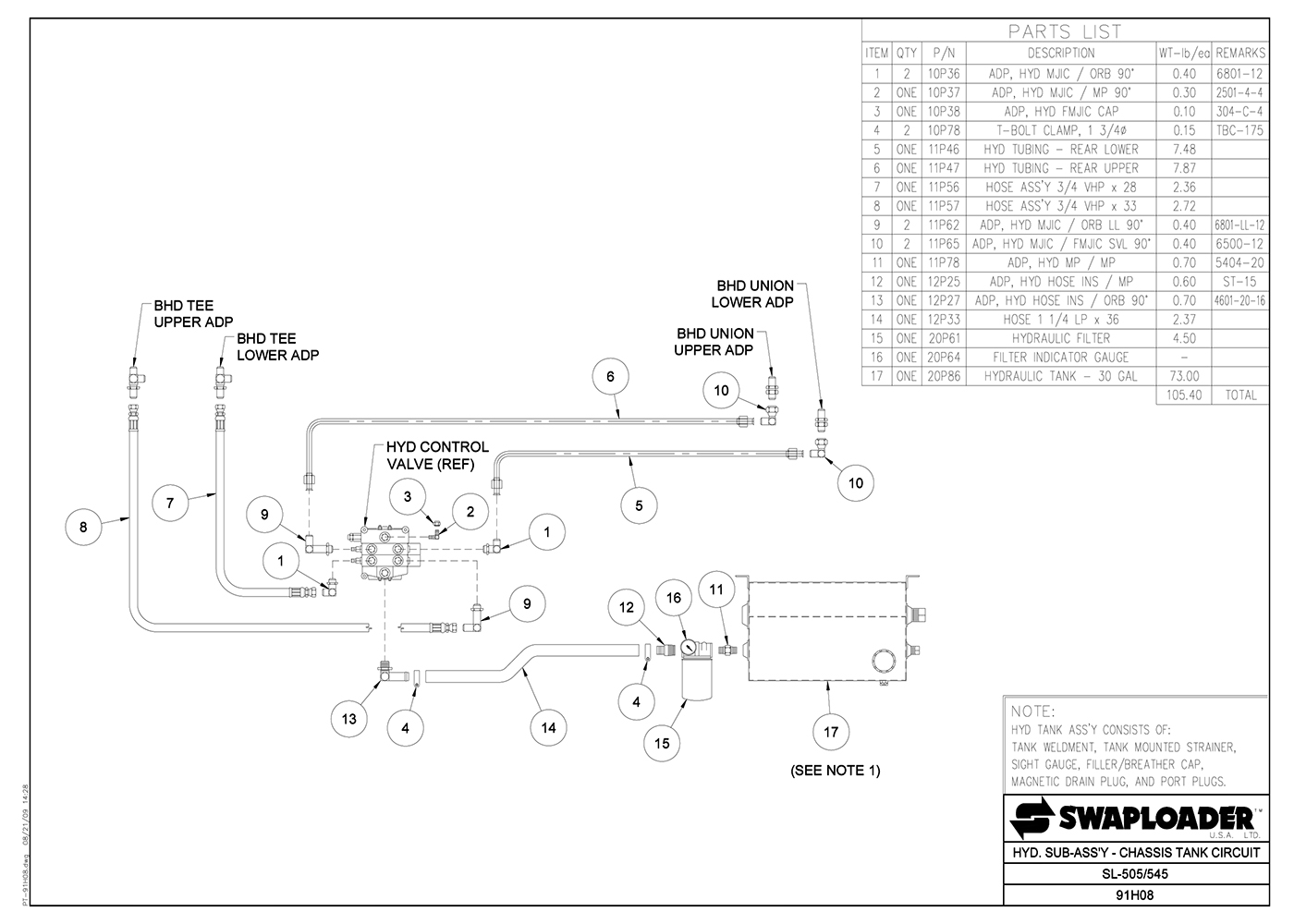 SL-505/545 Hydraulic Sub-Assembly (Chassis Tank Circuit)