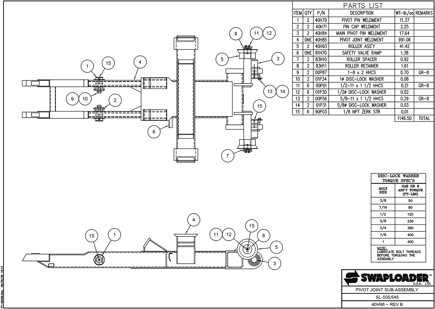 SL-505/545 Pivot Joint Sub-Assembly Diagram