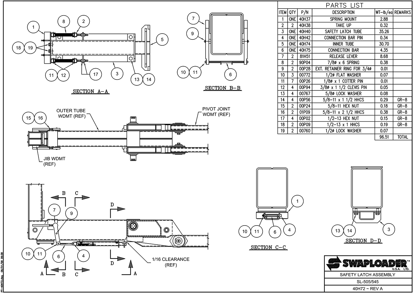 SL-505/545 Safety Latch Assembly Diagram