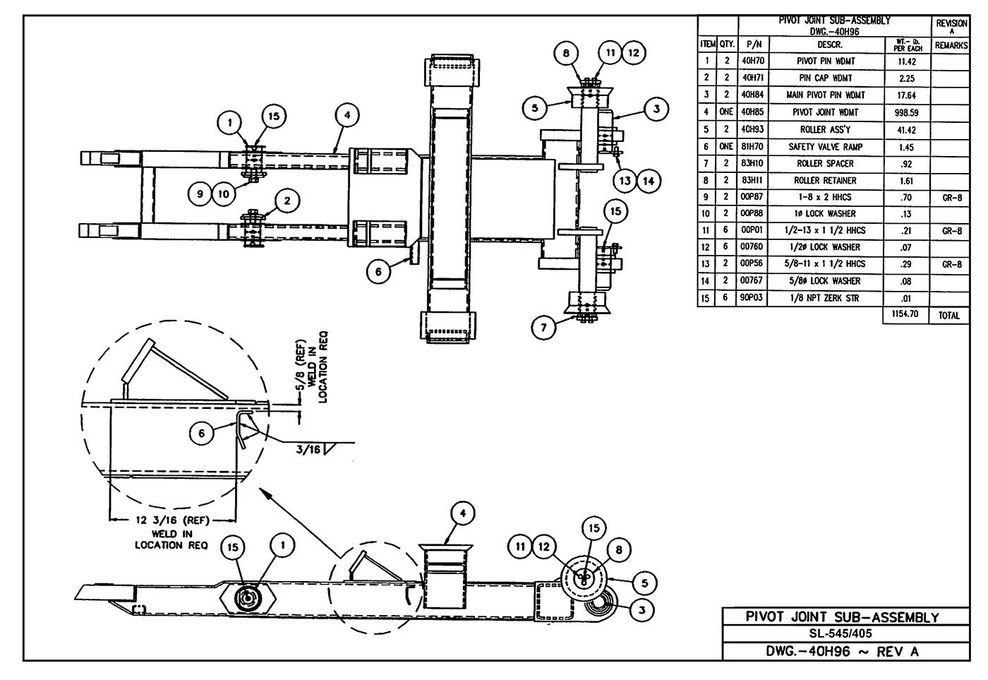 SL-545/405 Pivot Joint Sub-Assembly Diagram