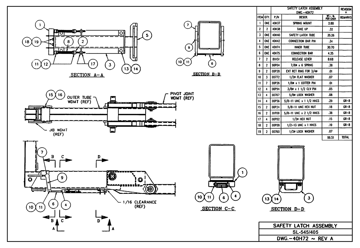 Sl-545/405 Safety Latch Assembly Diagram