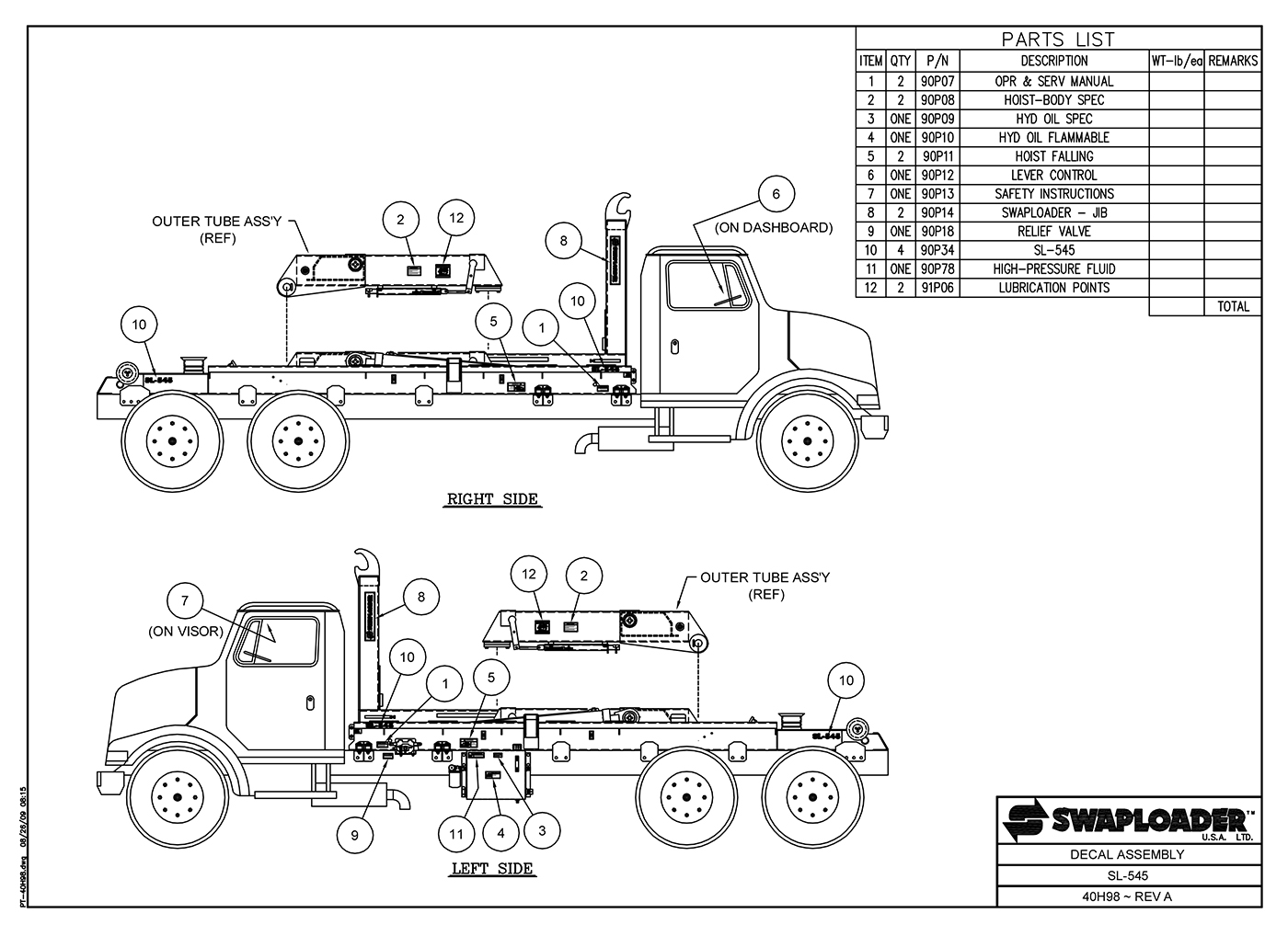 SL-545 Decal Assembly Diagram