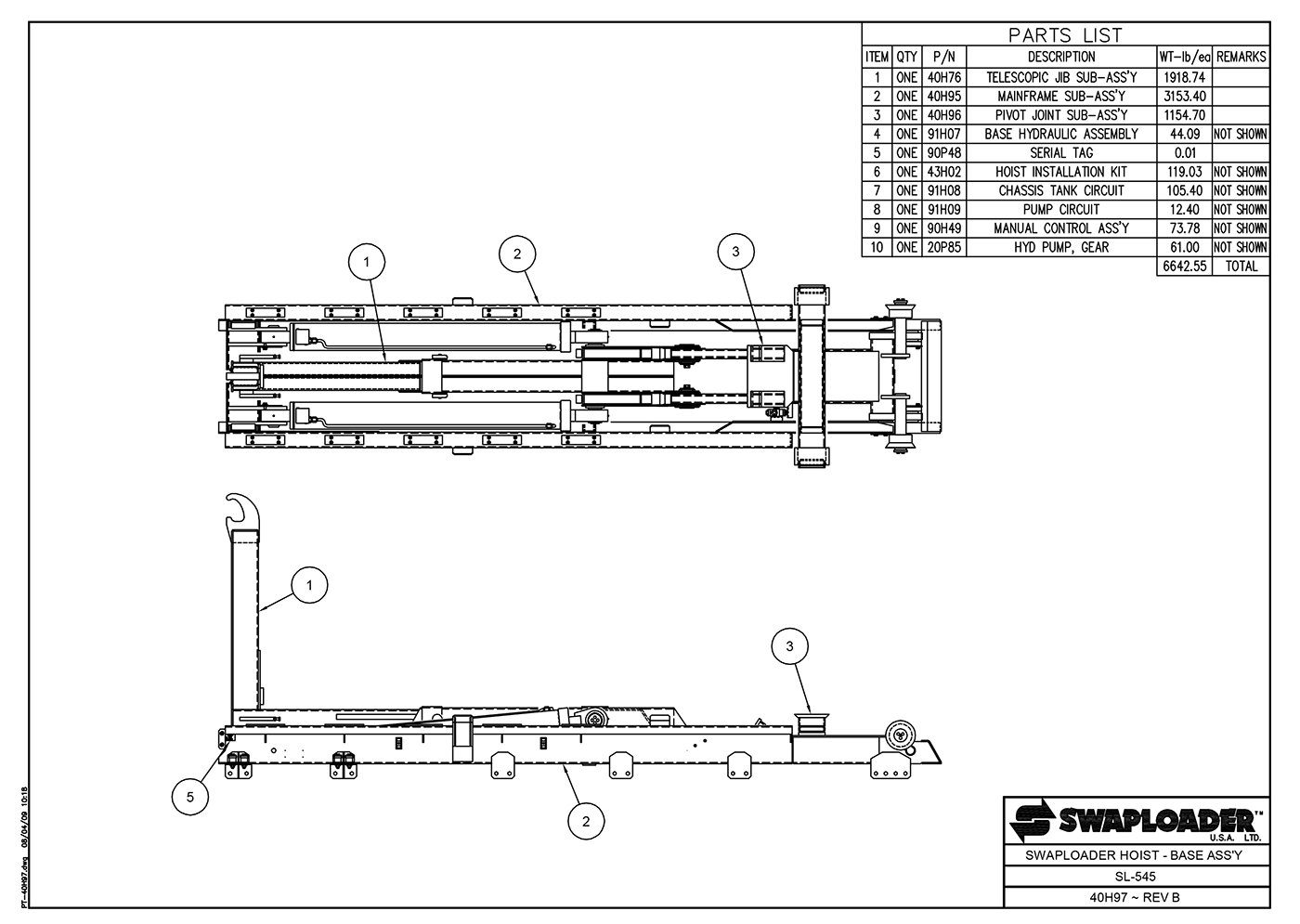 SL-545 Hoist Base Assembly Diagram