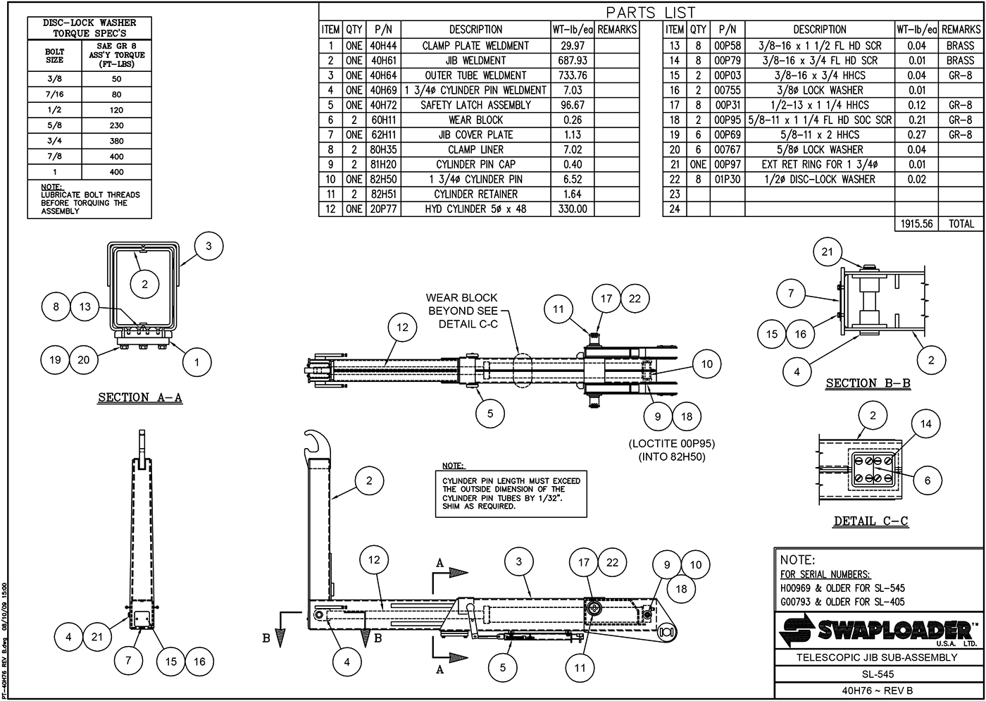 SL-545 Telescopic Jib Sub-Assembly (Revision B) Diagram