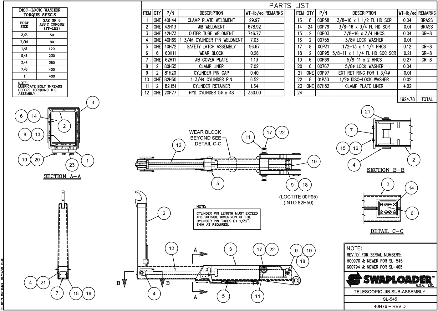 SL-545 Telescopic Jib Sub-Assembly (Revision D) Diagram